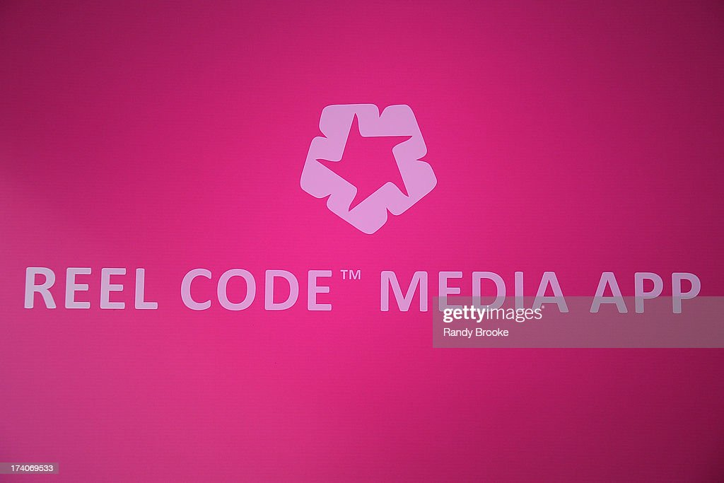 Reel Code Media App logo At Mercedes-Benz Fashion Week Swim 2014 at Raleigh Hotel on July 19, 2013 in Miami Beach, Florida.
