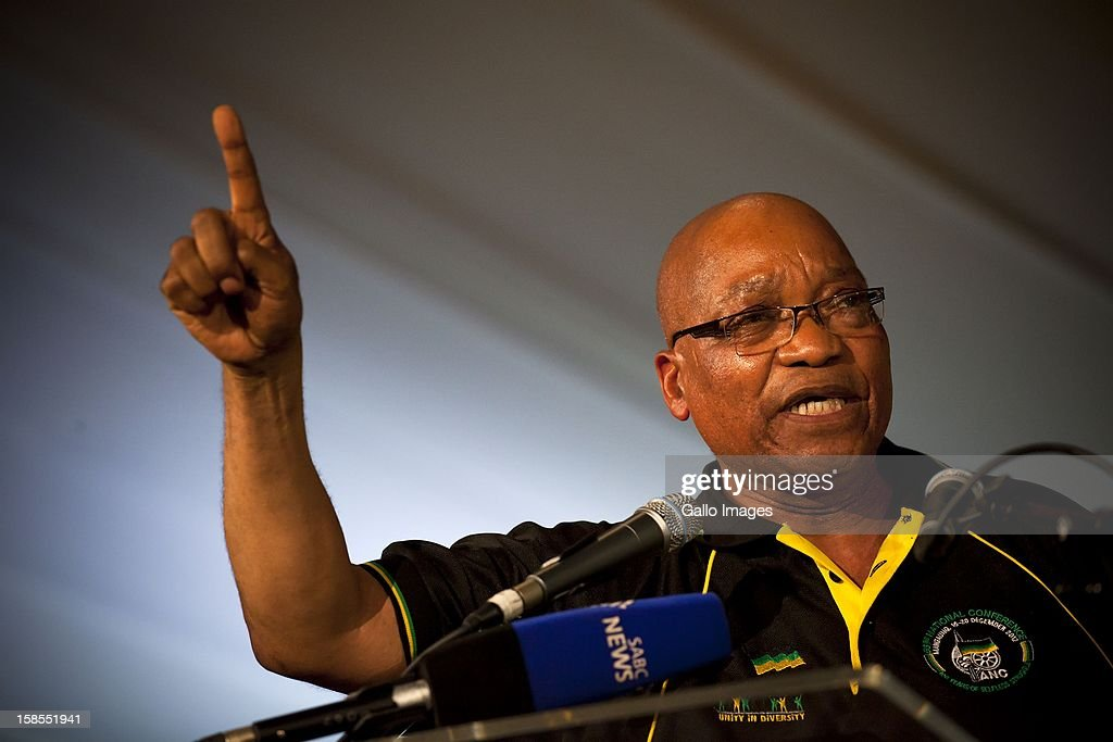 Re-elected ANC President Jacob Zuma at the ANC's elective conference on December 18, 2012 in Mangaung, South Africa.