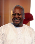Reelected Ghanaian President John Dramani Mahama smiles on December 10 2012 during a rally to accept his mandate at Kwame Nkrumah Circle in Accra...