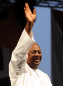 Reelected Ghanaian President John Dramani Mahama waves on December 10 2012 during a rally to accept his mandate at Kwame Nkrumah Circle in Accra...