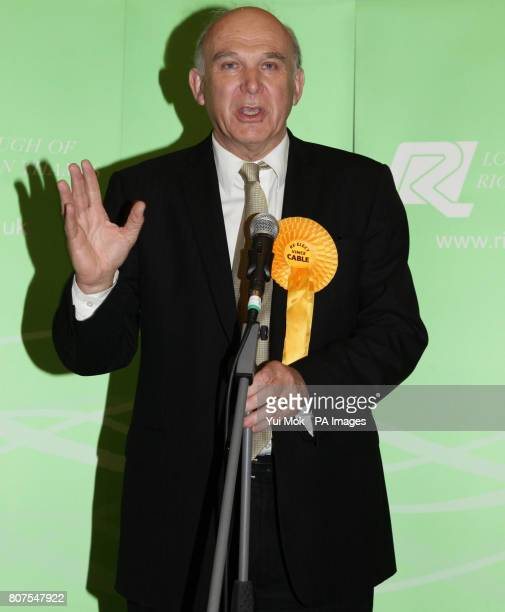 Reelected Liberal Democrat MP for Twickenham Vince Cable pictured at the General election count for the London Borough of Richmond upon Thames at...