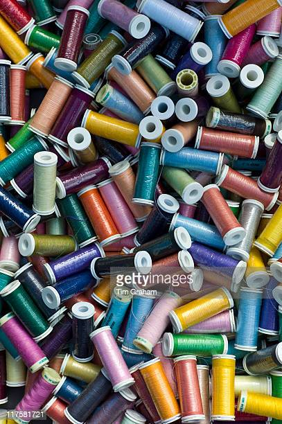 Reels of polyester thread on sale at market in La Reole Bordeaux region of France