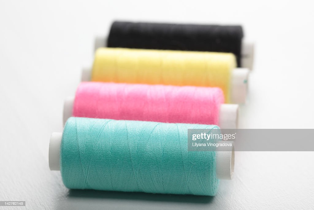 Reels of threads in colors : Stock Photo