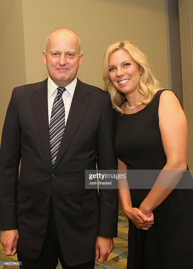 ReelzChannel CEO Stan E. Hubbard (L) and Jennifer Hubbard attend 2015 Miss USA Pageant Only On ReelzChannel Press Conference at The Baton Rouge River Center on July 12, 2015 in Baton Rouge, Louisiana.