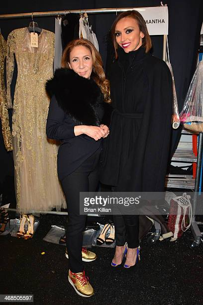 Reem Acra and Giuliana Rancic backstage at the Reem Acra fashion show during MercedesBenz Fashion Week Fall 2014 at The Salon at Lincoln Center on...