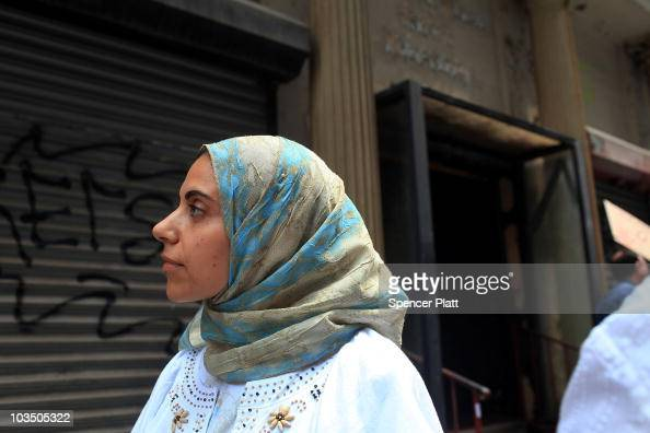 Reem El Shafaki originally from Egypt and now a resident of New Jersey stands in front of the building that is the proposed site of the Park51 mosque...