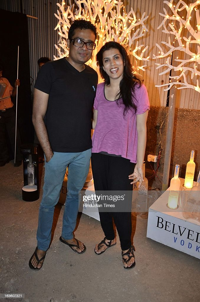 Reena and Jitesh Kallat at Special preview of Otlo Design project hosted by Belvedere Vodka at Bhavishyavani Backyard, Bandra on March 11, 2013 in Mumbai, India.