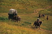 Re-enactment of settlers migrating in Colorado