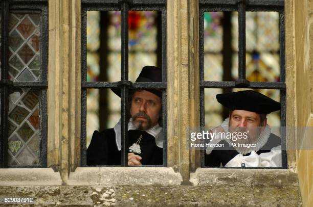 Reenactment specialists Mark Wallis and Ellis Pike dressed as Puritan leader Doctor John Reynolds and Doctor Lancelot Andrews Bishop of Ely...