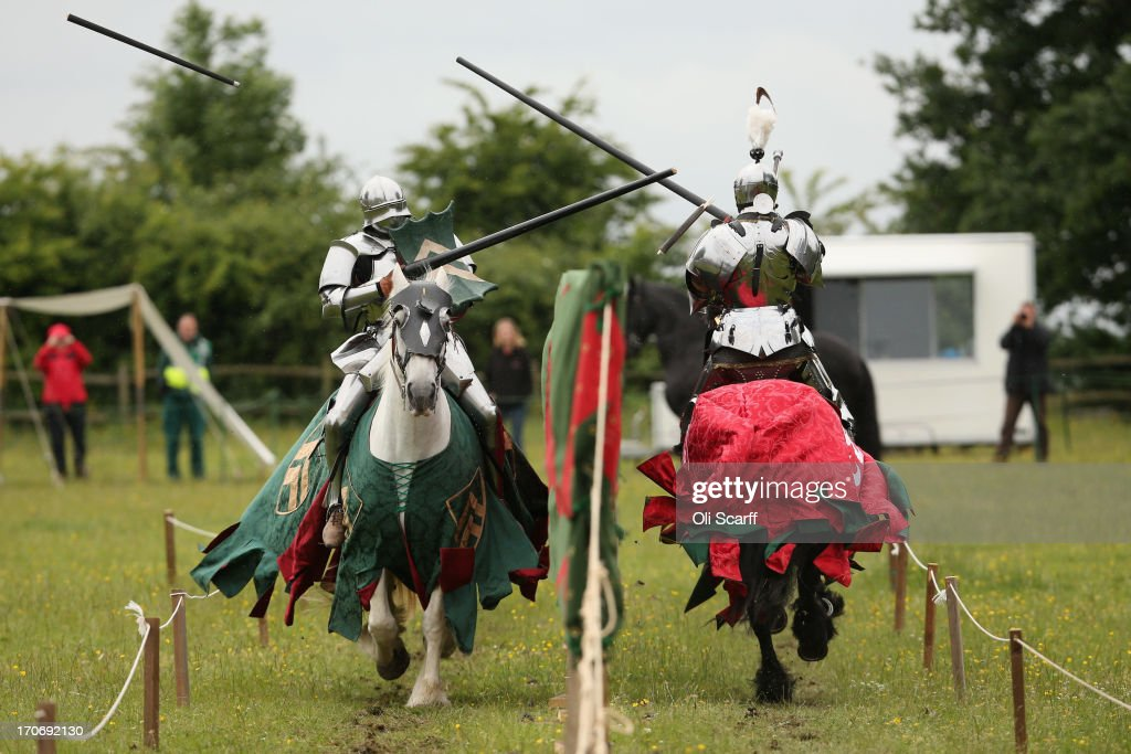 Reenactors dressed as knights stage a medieval jousting competition at Eltham Palace on June 16, 2013 in Eltham, England. The 'Grand Medieval Joust' event at Eltham Palace, an English Heritage property which was the childhood home of King Henry VIII, aims to give a great insight into life at the palace during the medieval period.