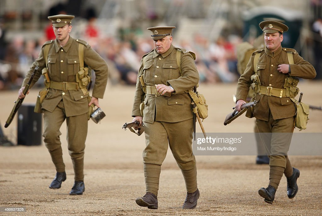 WW1 re-enactors of The Great War Society perform in the Household Division's Beating Retreat, watched by Prince William, Duke of Cambridge on Horse Guards Parade on June 12, 2014 in London, England.