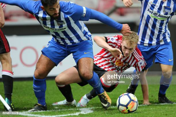 Rees Greenwood of Sunderland battles during the Premier League International Cup match between Sunderland U23 and Hertha Berlin U23 at Stadium of...