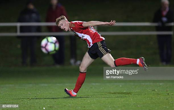 Rees Greenwood of Sunderland during the U23 Premier League International Cup match between Sunderland and Benfica at The Hetton Centre on November 18...