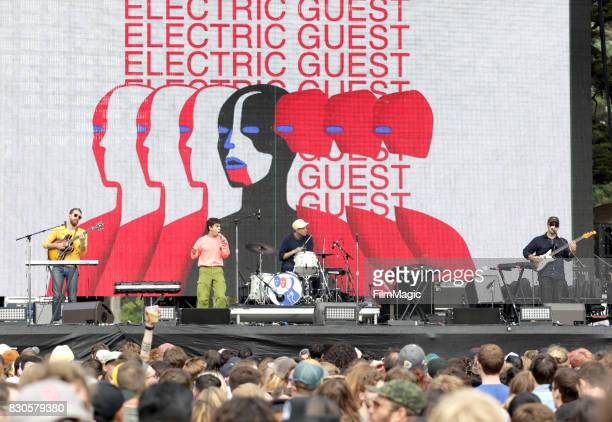 Reese Richardson Asa Taccone Matthew Compton and Luke Top of Electric Guest perform on the Twin Peaks Stage during the 2017 Outside Lands Music And...