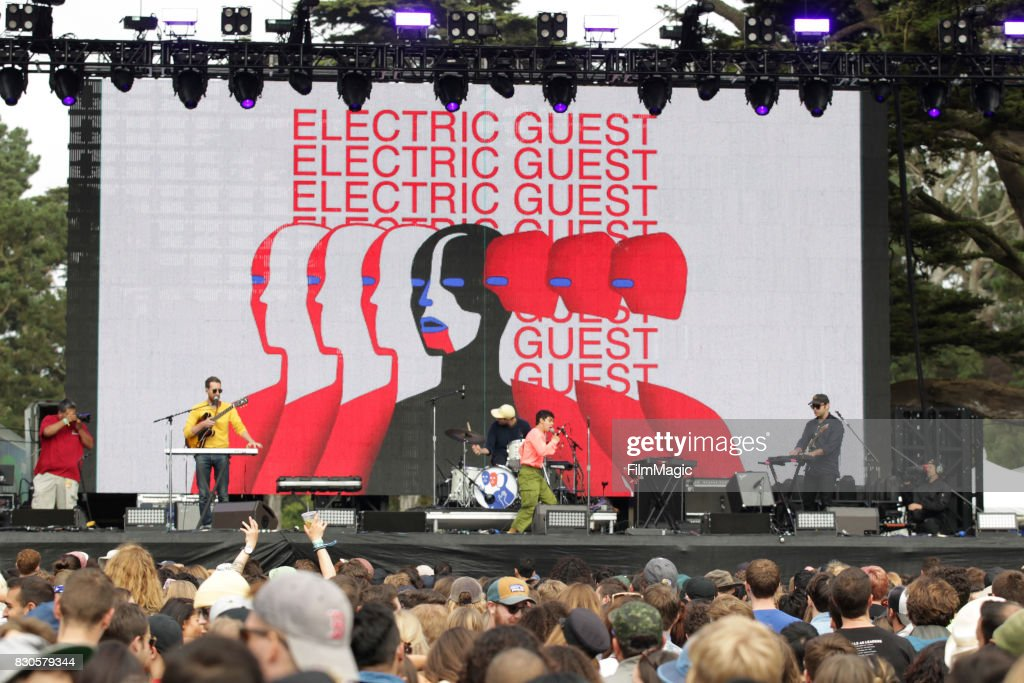 Reese Richardson, Matthew Compton, Asa Taccone and Luke Top of Electric Guest perform on the Twin Peaks Stage during the 2017 Outside Lands Music And Arts Festival at Golden Gate Park on August 11, 2017 in San Francisco, California.