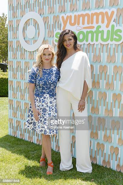 Reese Witherspoon and Camila Alves attend the launch of Yummy Spoonfuls at Target on June 8 2016 in Beverly Hills California