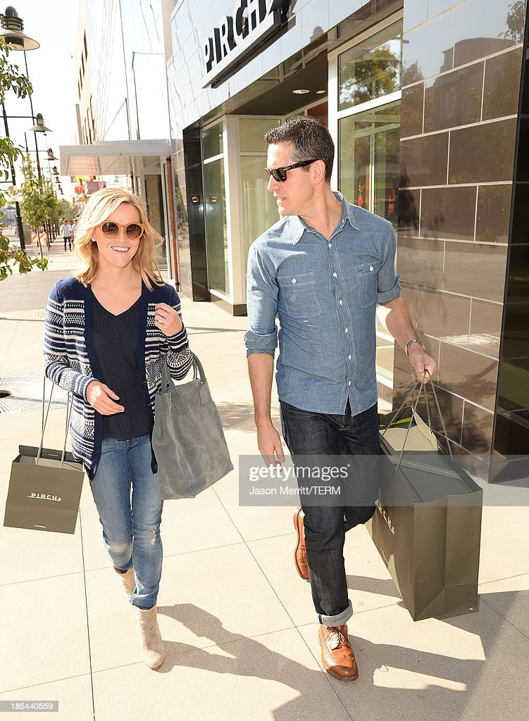 Reese Witherspoon and Jim Toth are seen at Pirch in Glendale Galleria on October 20 2013 in Glendale California