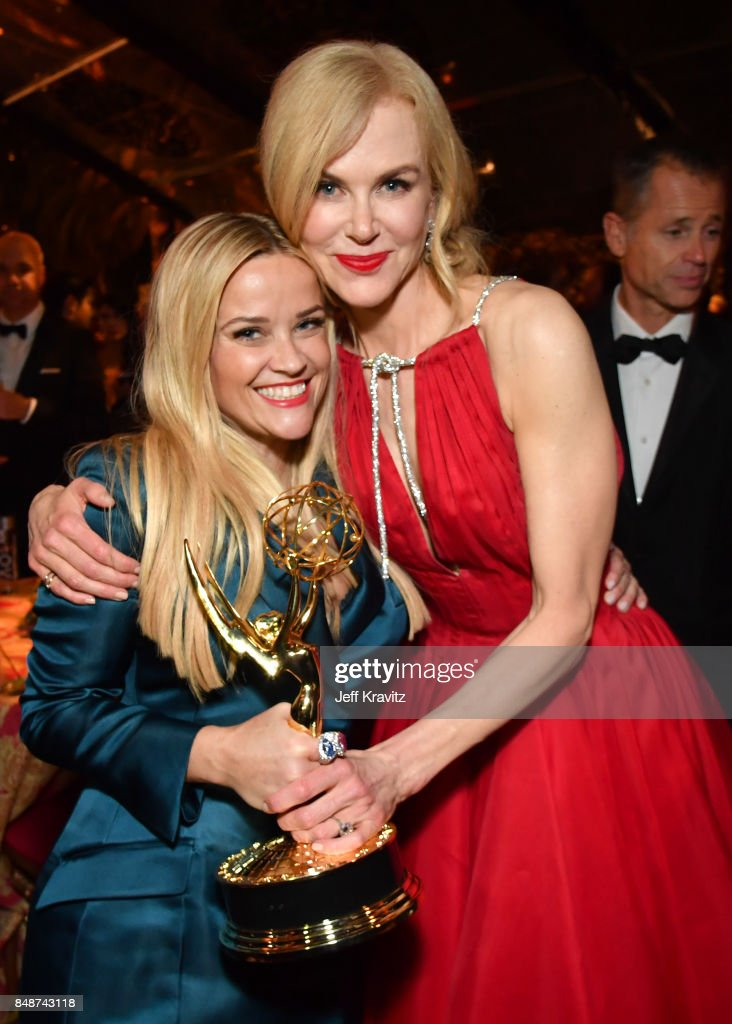 Reese Witherspoon (L) and Nicole Kidman at the HBO's Official 2017 Emmy After Party at The Plaza at the Pacific Design Center on September 17, 2017 in Los Angeles, California.