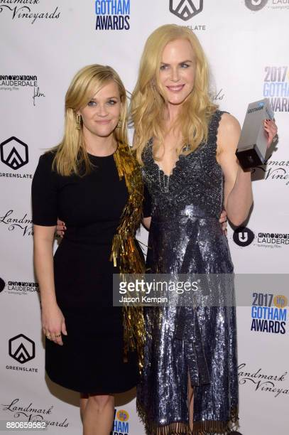 Reese Witherspoon and Nicole Kidman attend the GreenSlate Greenroom at The 2017 Gotham Awards at Cipriani Wall Street on November 27 2017 in New York...