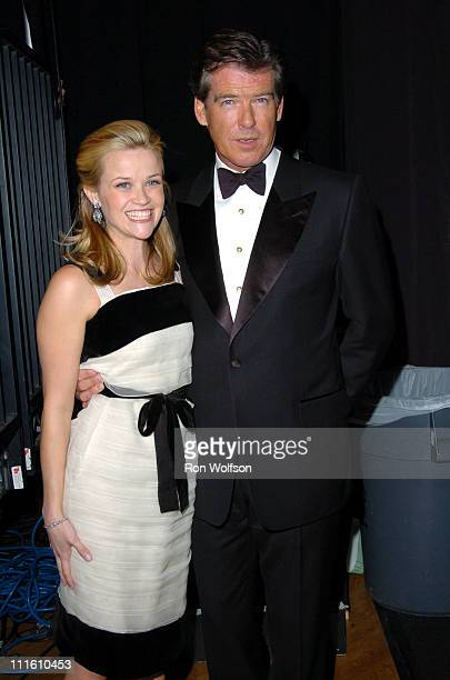 Reese Witherspoon and Pierce Brosnan during 12th Annual Screen Actors Guild Awards Backstage and Audience at Shrine Expo Hall in Los Angeles...