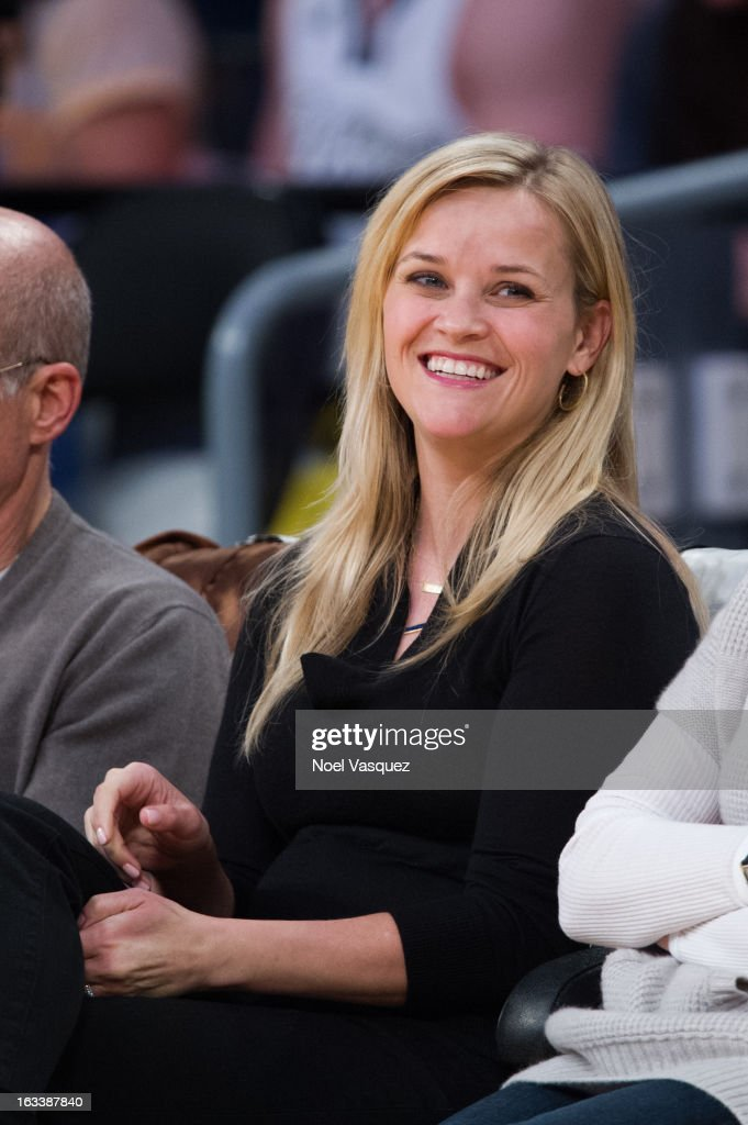 <a gi-track='captionPersonalityLinkClicked' href=/galleries/search?phrase=Reese+Witherspoon&family=editorial&specificpeople=201577 ng-click='$event.stopPropagation()'>Reese Witherspoon</a> attends a basketball between Toronto Raptors and Los Angeles Lakers at Staples Center on March 8, 2013 in Los Angeles, California.