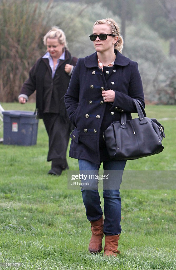 Reese Witherspoon attends a soccer game for her son in Pacific Palisades on December 8, 2012 in Los Angeles, California.