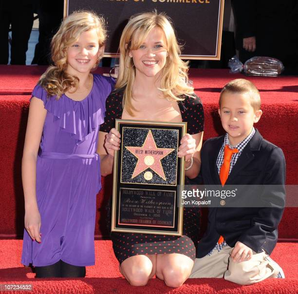 Reese Witherspoon daughter Ava Elizabeth Phillippe and son Deacon Phillippe pose at the Reese Witherspoon Hollywood Walk Of Fame Star Induction...