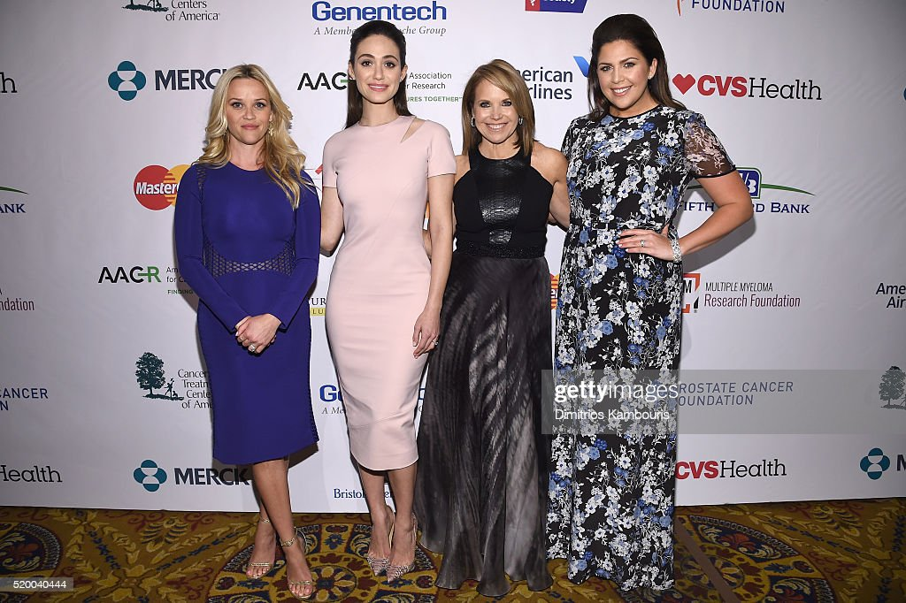 Reese Witherspoon, Emmy Rossum, Katie Couric and Hillary Scott attend Stand Up To Cancer's New York Standing Room Only, presented by Entertainment Industry Foundation, with donors American Airlines and Merck, chaired by Jim Toth, Reese Witherspoon & MasterCard President/CEO Ajay Banga and his wife Ritu, honoring Katie Couric at Cipriani Wall Street on April 9, 2016 in New York City.