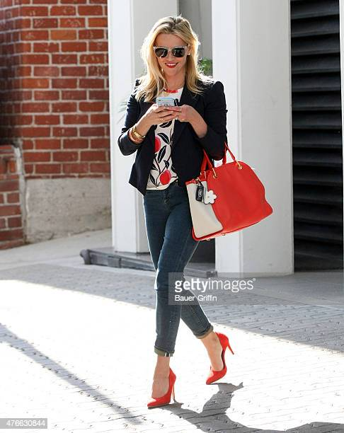 Reese Witherspoon is seen leaving her office building in Beverly Hills on June 10 2015 in Los Angeles California