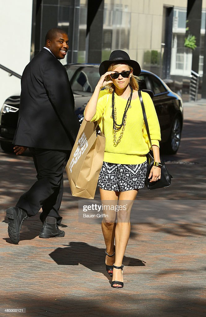 Reese Witherspoon is seen running errands on April 07, 2014 in Los Angeles, California.