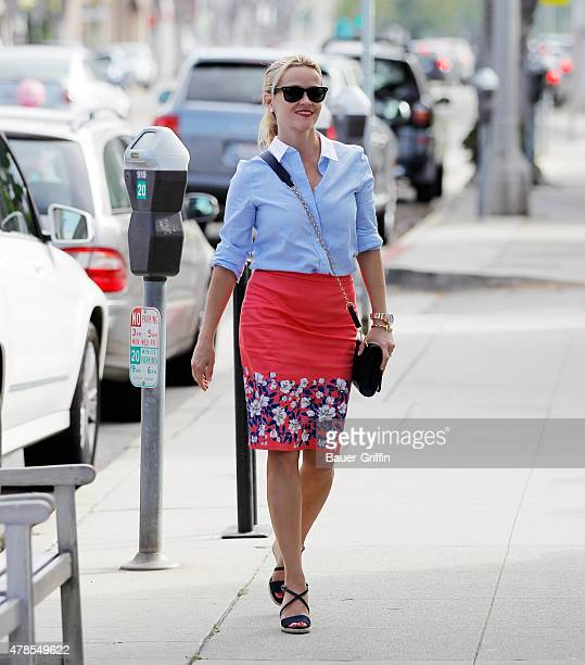 Reese Witherspoon runs errands in Los Angeles on June 25 2015 in Los Angeles California