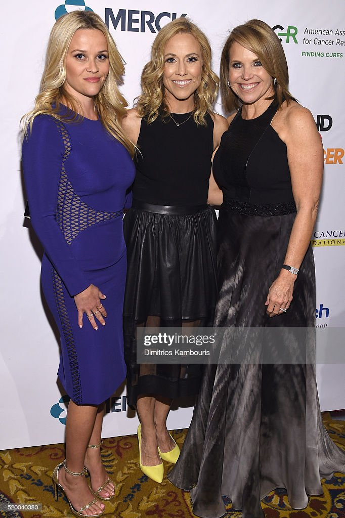 Reese Witherspoon, Sheryl Crow and Katie Couric attend Stand Up To Cancer's New York Standing Room Only, presented by Entertainment Industry Foundation, with donors American Airlines and Merck, chaired by Jim Toth, Reese Witherspoon & MasterCard President/CEO Ajay Banga and his wife Ritu, honoring Katie Couric at Cipriani Wall Street on April 9, 2016 in New York City.
