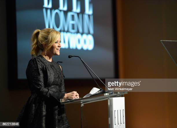 Reese Witherspoon speaks onstage during ELLE's 24th Annual Women in Hollywood Celebration presented by L'Oreal Paris Real Is Rare Real Is A Diamond...