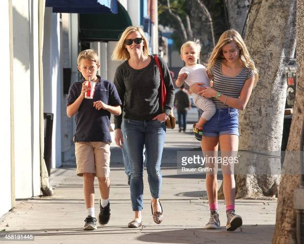 Reese Witherspoon with her children Deacon Phillippe Ava Phillippe and Tennessee Toth are seen on December 20 2013 in Los Angeles California