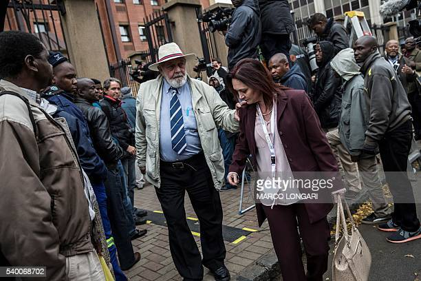 Reeva Steenkamp father Barry leaves the Pretoria High Court on June 14 2016 on the second day of the pre sentencing hearing of South African...