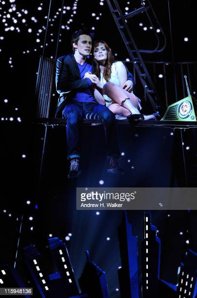 Reeve Carney and Jennifer Damiano of 'SpiderMan Turn Off The Dark' perform on stage during the 65th Annual Tony Awards at the Beacon Theatre on June...