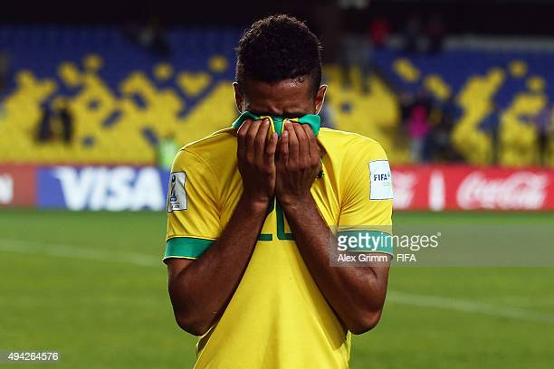 Reeve Frosler of South Africa reacts after the FIFA U17 World Cup Chile 2015 Group E match between Russia and South Africa at Estadio Municipal de...