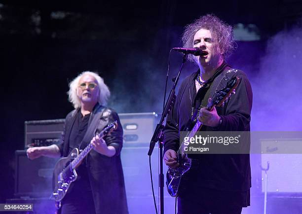 Reeves Gabrals and Robert Smith of The Cure perform at Shoreline Amphitheatre on May 26 2016 in Mountain View California