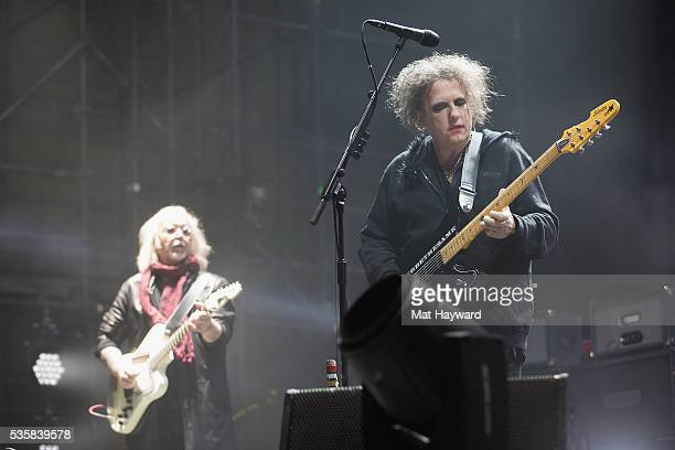 Reeves Gabrals and Robert Smith of The Cure performs on stage during the Sasquatch Music Festival at Gorge Amphitheatre on May 29 2016 in George...