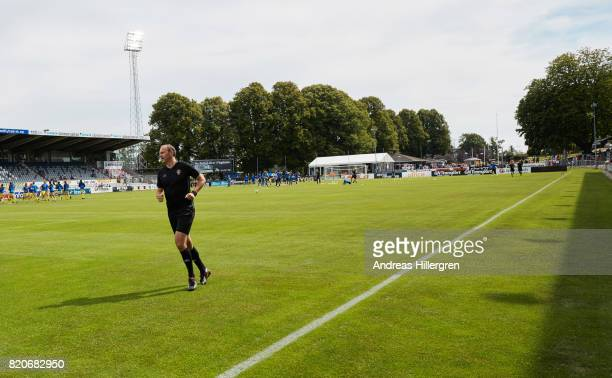 Ref Jonas Eriksson if warming up before the Allsvenskan match between Halmstad BK and GIF Sundsvall at Orjans Vall on July 22 2017 in Halmstad Sweden