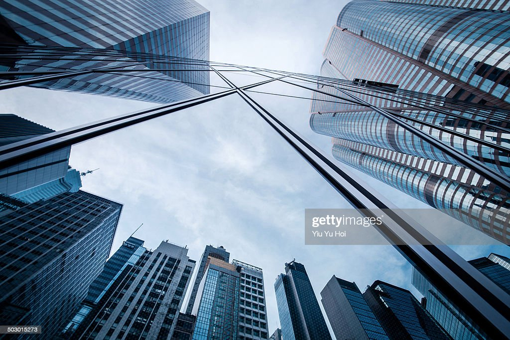 Refection of buildings on a skyscraper facade