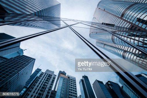 Refection of buildings on a skyscraper facade