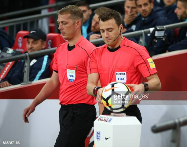 Refeer Felix Zwayer before the FIFA World Cup Qualifying European Region Group F match between England and Slovenia at Wembley stadium London 05 Oct...