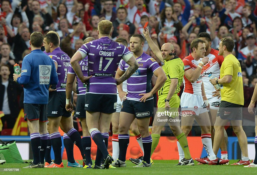Refeere Phil Bentham sending off Ben Flower of Wigan Warriors during the First Utility Super League Grand Final between St Helens and Wigan Warriors...
