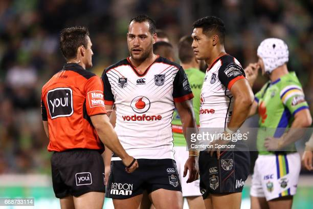 Referee Adam Gee places Bodene Thompson of the Warriors on report during the round seven NRL match between the Canberra Raiders and the New Zealand...