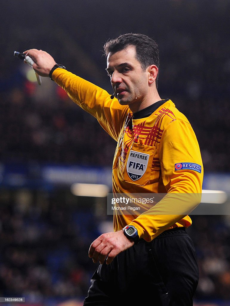 Referee Aleksandar Stavrev gives a decision during the UEFA Europa League Round of 32 second leg match between Chelsea and Sparta Praha at Stamford Bridge on February 21, 2013 in London, England.