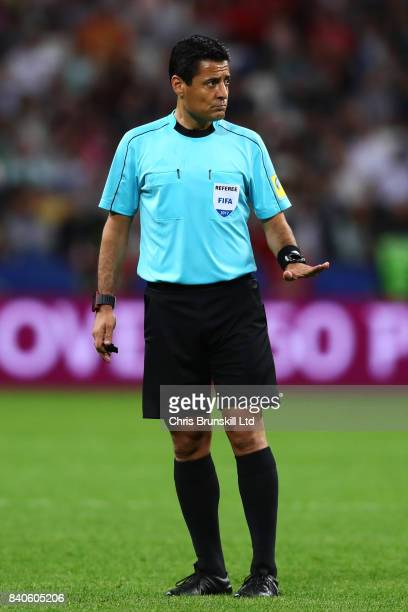 Referee Alireza Faghani gestures during the FIFA Confederations Cup Russia 2017 SemiFinal between Portugal and Chile at Kazan Arena on June 28 2017...