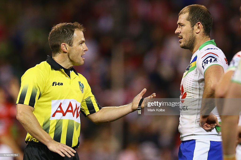 Referee Allan Shortall speaks to <a gi-track='captionPersonalityLinkClicked' href=/galleries/search?phrase=Terry+Campese&family=editorial&specificpeople=2344673 ng-click='$event.stopPropagation()'>Terry Campese</a> of the Raiders during the round 20 match between the St George Illawarra Dragons and the Canberra Raiders at WIN Stadium on July 27, 2013 in Wollongong, Australia.
