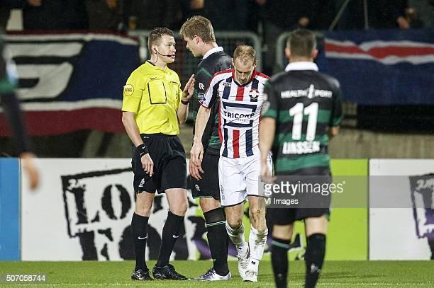 referee Allard Lindhout Alexander Sorloth of FC Groningen Frank van der Struijk of Willem II Bryan Linssen of FC Groningen during the Dutch...