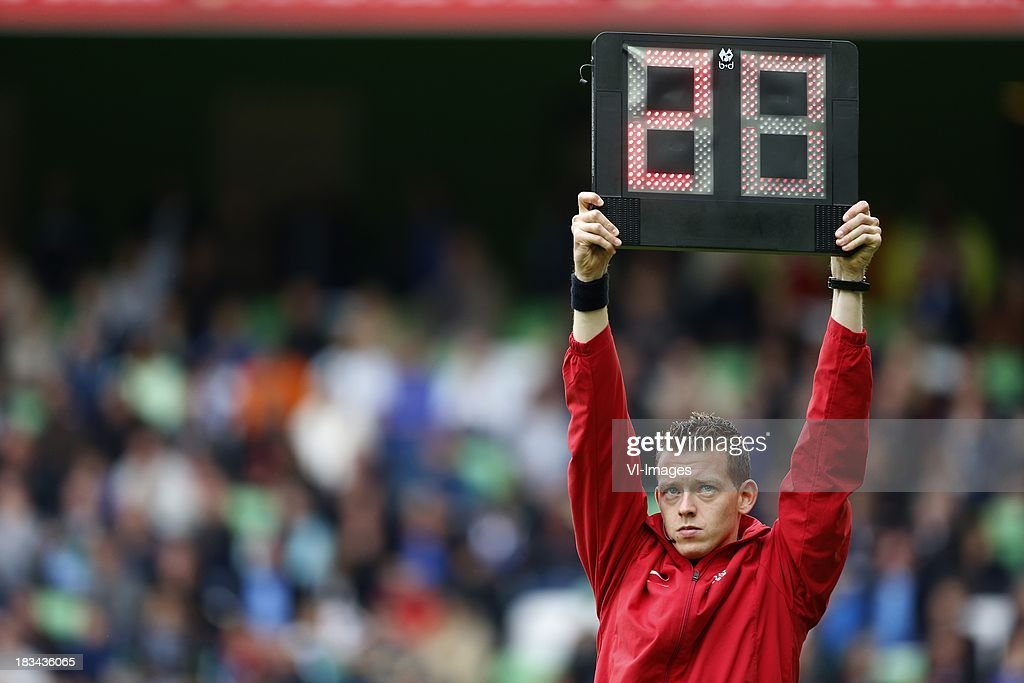 Referee Allard Lindhout during the Dutch Eredivisie match between FC Groningen and AZ Alkmaar at De Euroborg on Oktober 6, 2013 in Groningen, The Netherlands
